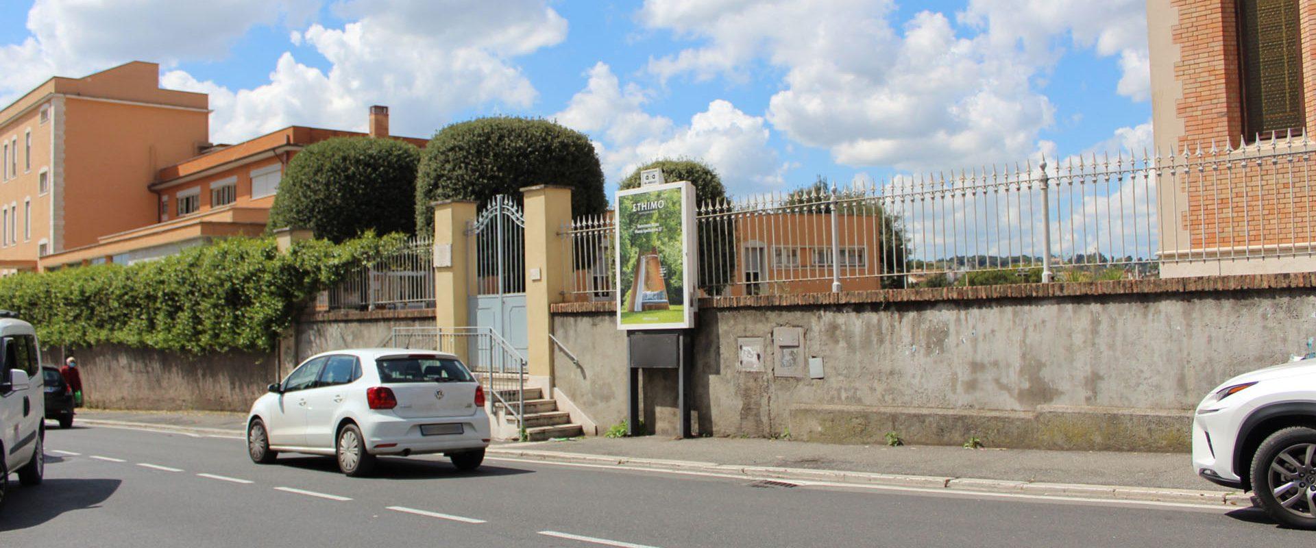 Affissione luminosa di APA in via Fleming a Roma.