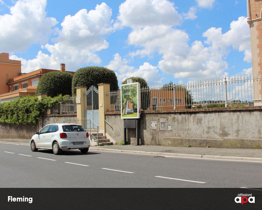 Affissione Luminosa di 140 x 200 cm nel quartiere Fleming di Roma, con la pubblicità di Ethimo.