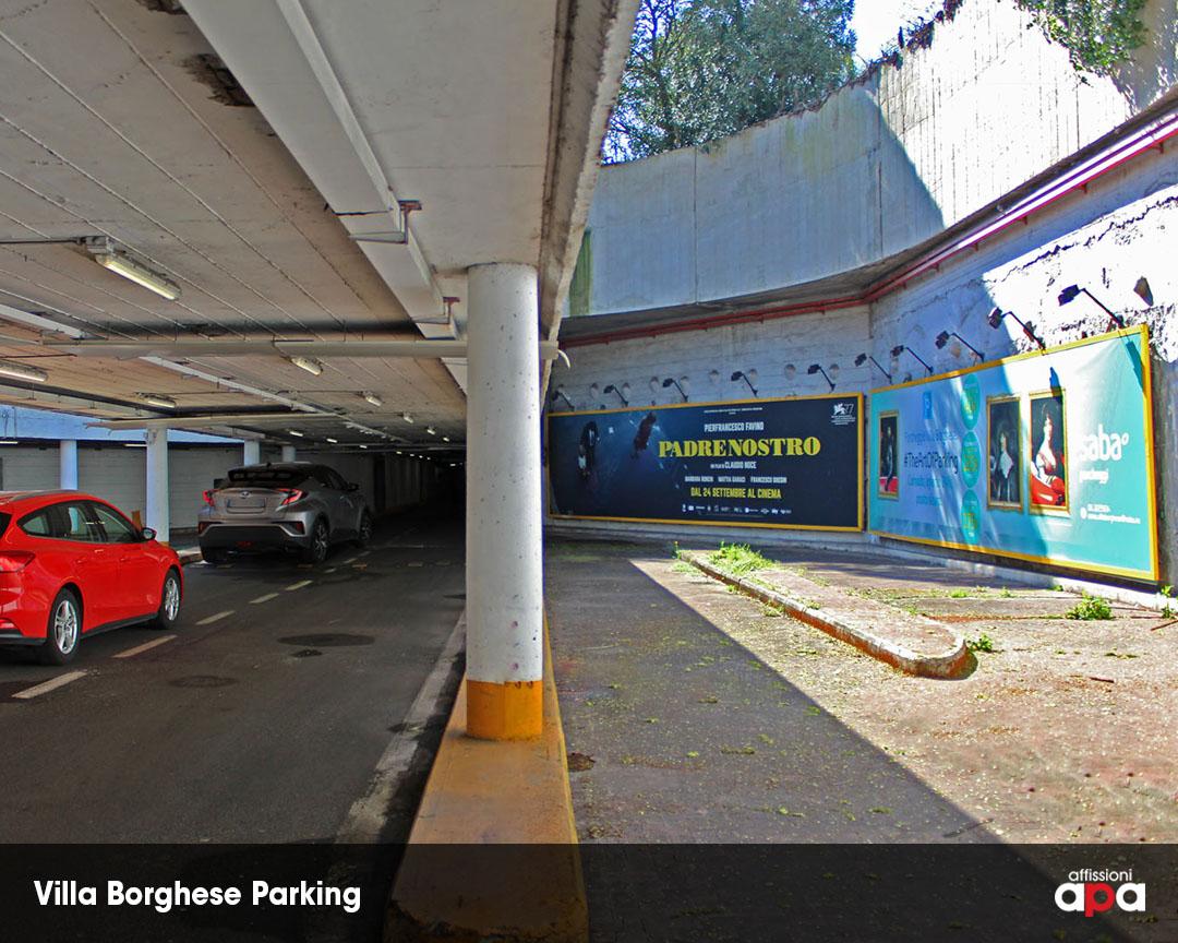 Le maxi affissioni del parcheggio di Villa Borghese con la pubblicità del film Padrenostro.
